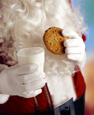 Santa Claus with Milk And Cookies