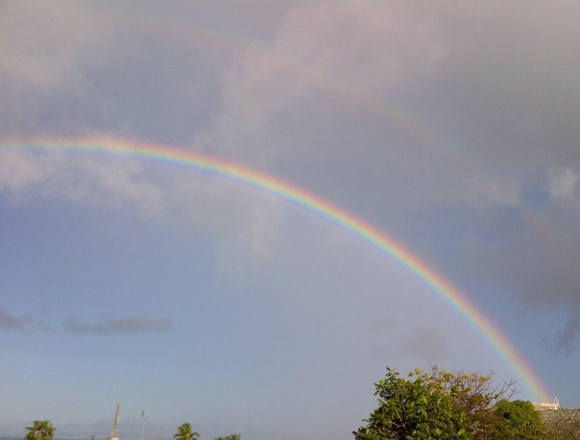Double rainbow, Barbados skies