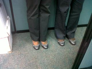Going to work and realising someone has the exact same pair of shoes as you do!