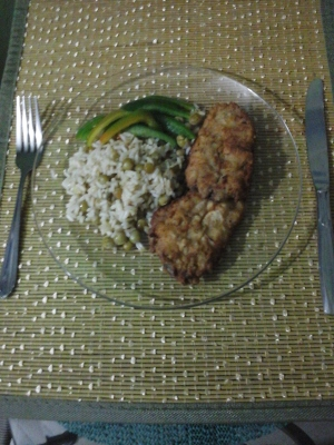 Flying fish with rice and peas - yummy!