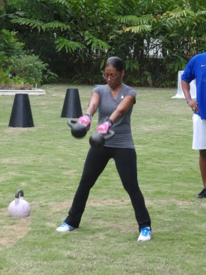 Exercising with kettle bells; keeping fit