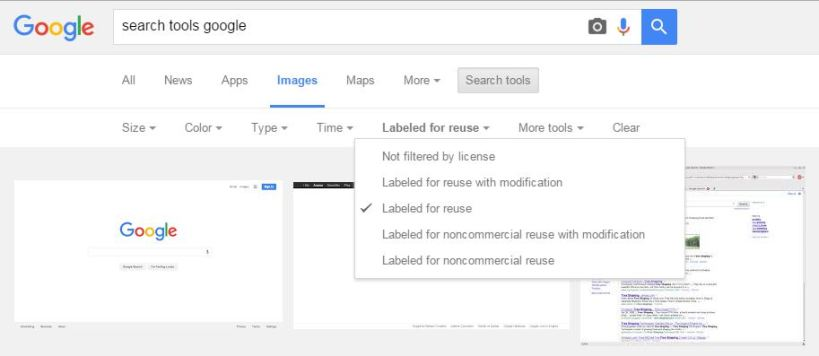 Google search tools screenshot