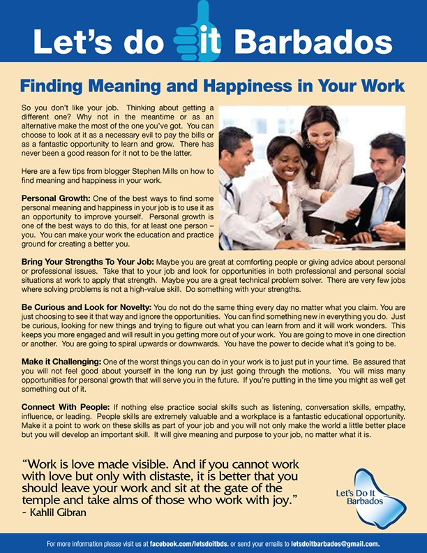 let's do it barbados, how to be happy at work